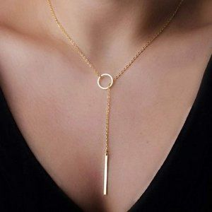 Minimalist Lariat Necklace (Gold)
